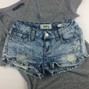 Daytrip Scorpio acid washed jeweled & Lace shorts